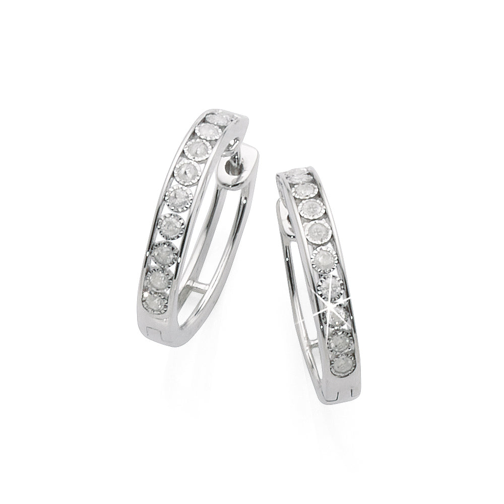 9ct White Gold Diamond Huggie Hoops TDW 0.25CT