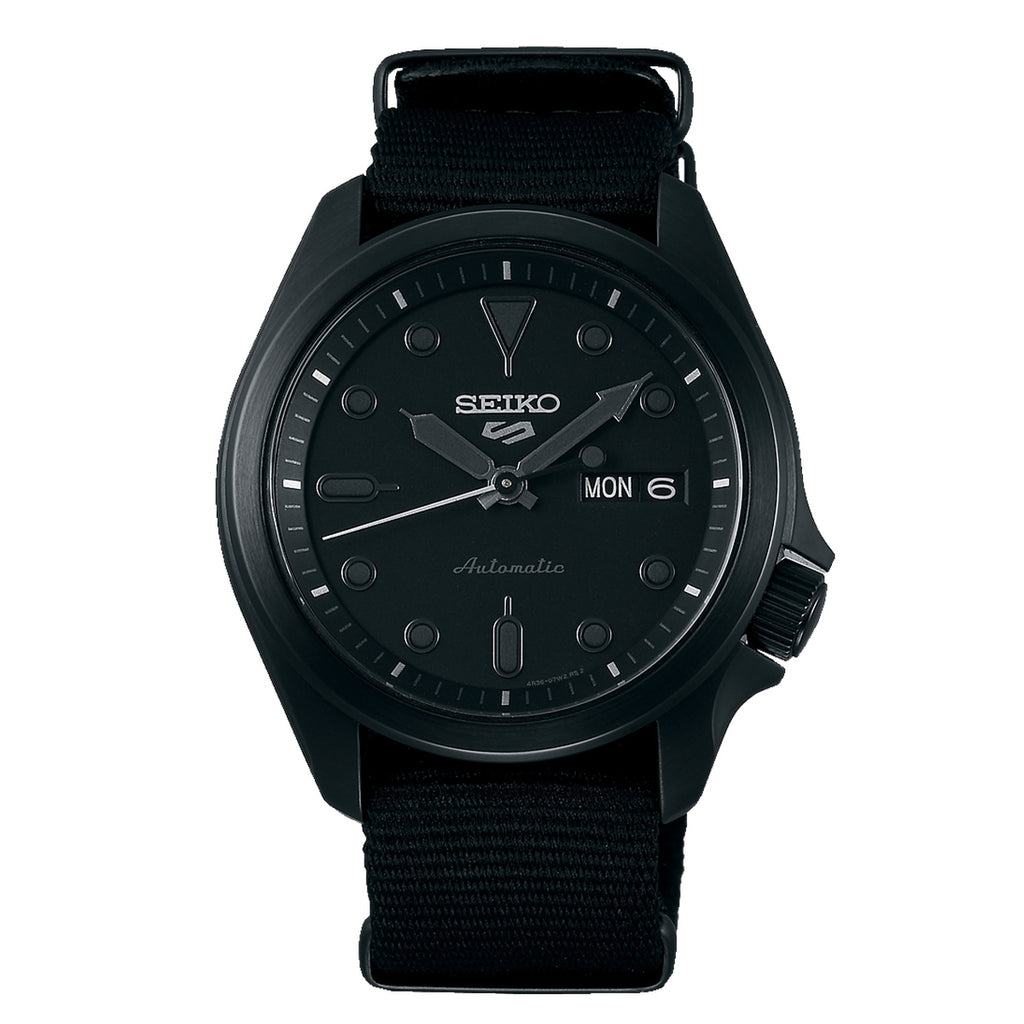 Seiko Black Stainless Steel Nylon Strap Watch SRPE69K