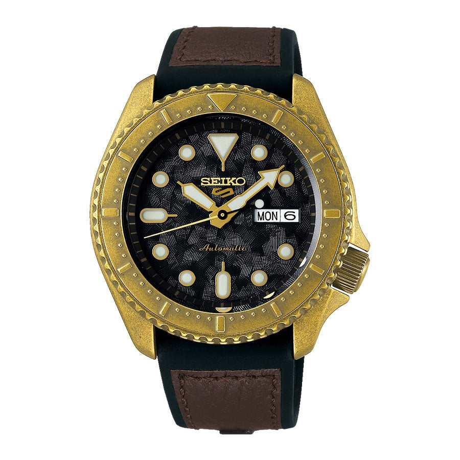 Seiko 5 Automatic Gold-Tone Brown Strap Watch SRPE80K