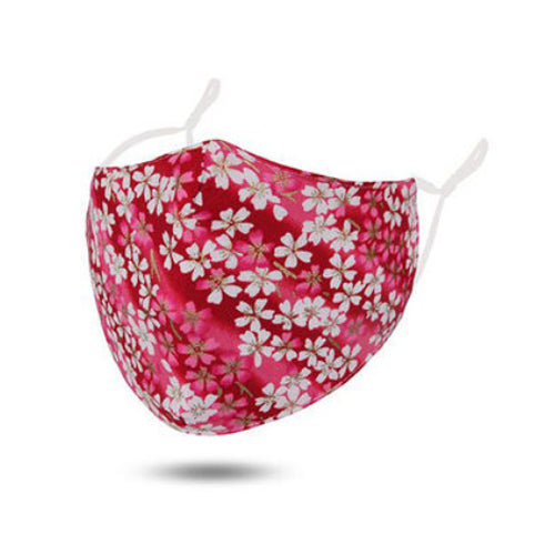Red / Blossom Cotton Face Mask Adjustable Elastic