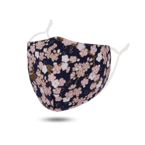 Navy / Flower Cotton Face Mask Adjustable Elastic