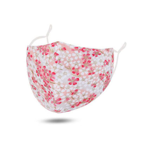 Pink / Flower Cotton Face Mask Adjustable Elastic