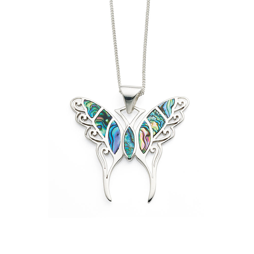 Sterling Silver 45mm Paua Shell Butterfly Pendant