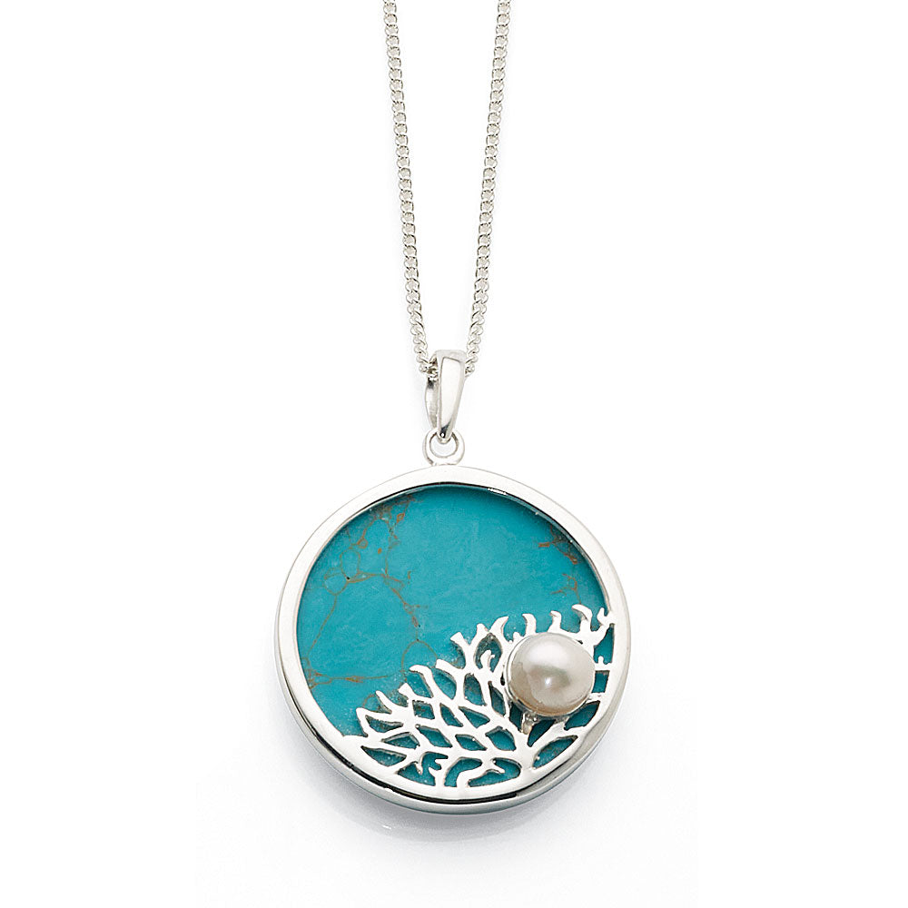 Sterling Silver Created Turquoise & Pearl Round Pendant