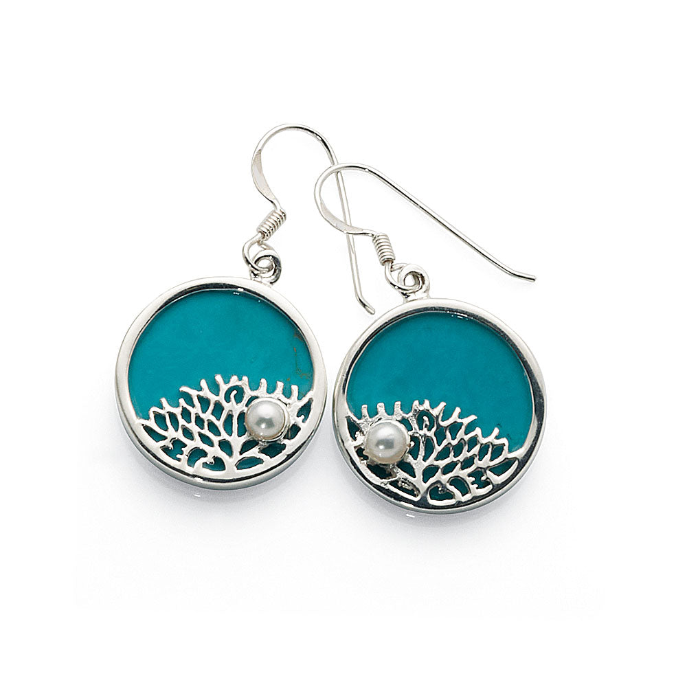 Sterling Silver Created Turquoise & Pearl Hook Earrings