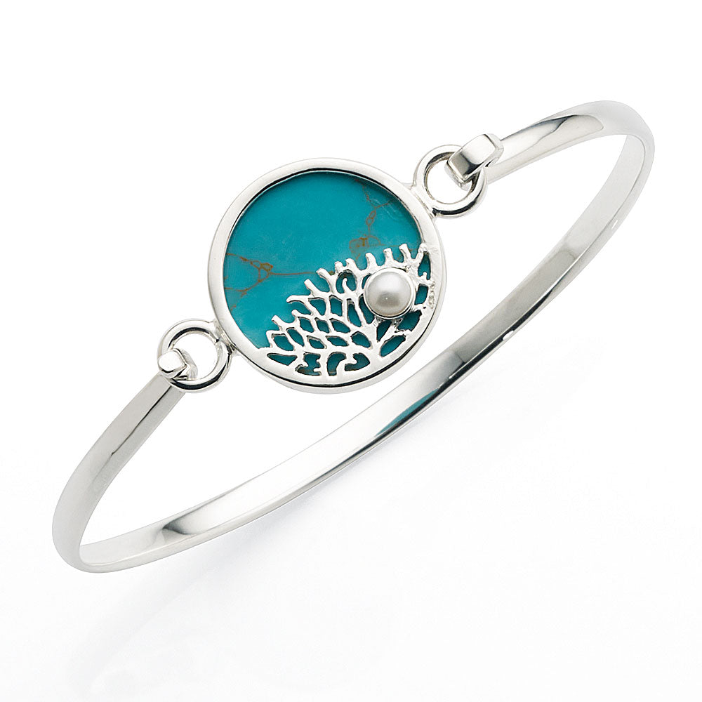 Sterling Silver Created Turquoise 61mm Bangle
