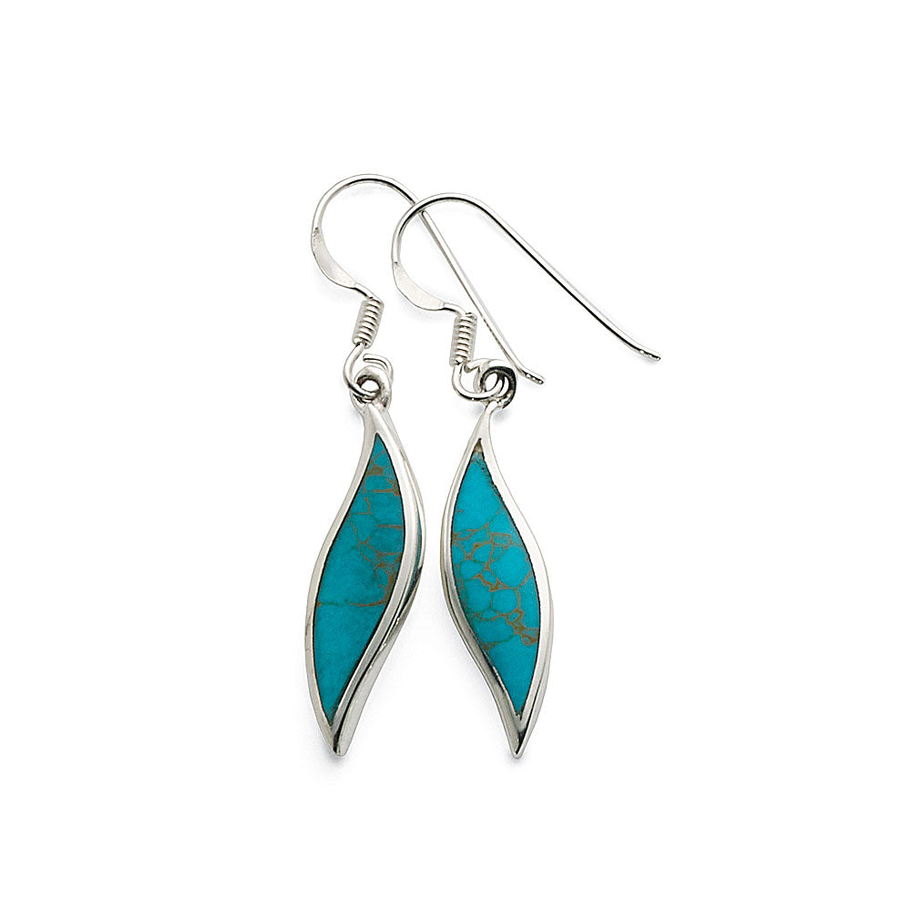 Sterling Silver Created Turquoise Leaf Shaped Drop Hooks