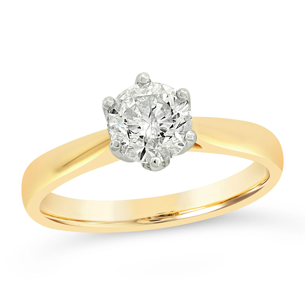 18ct Gold 1.07ct Solitaire Diamond Tapered Ring
