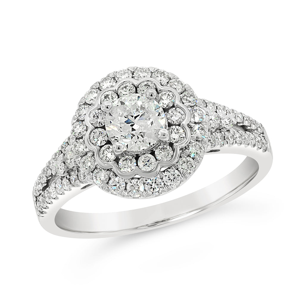 18ct White Gold 1.2 Carat Double Halo Diamond Ring