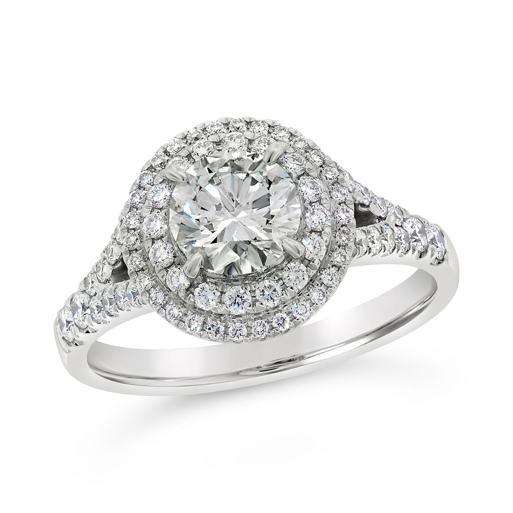 Certified 18ct White Gold 1.5CT Halo Diamond Ring