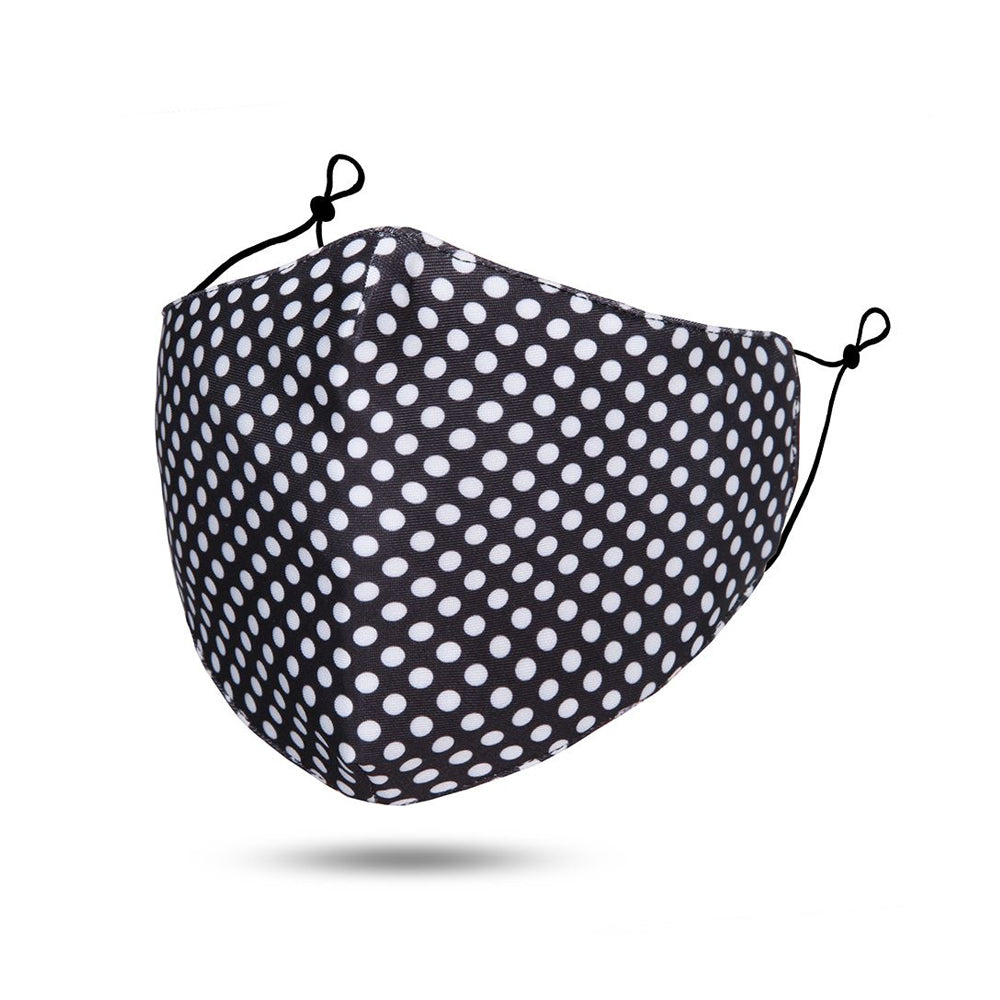 Black / White Polka Dot Reusable Cotton Face Mask