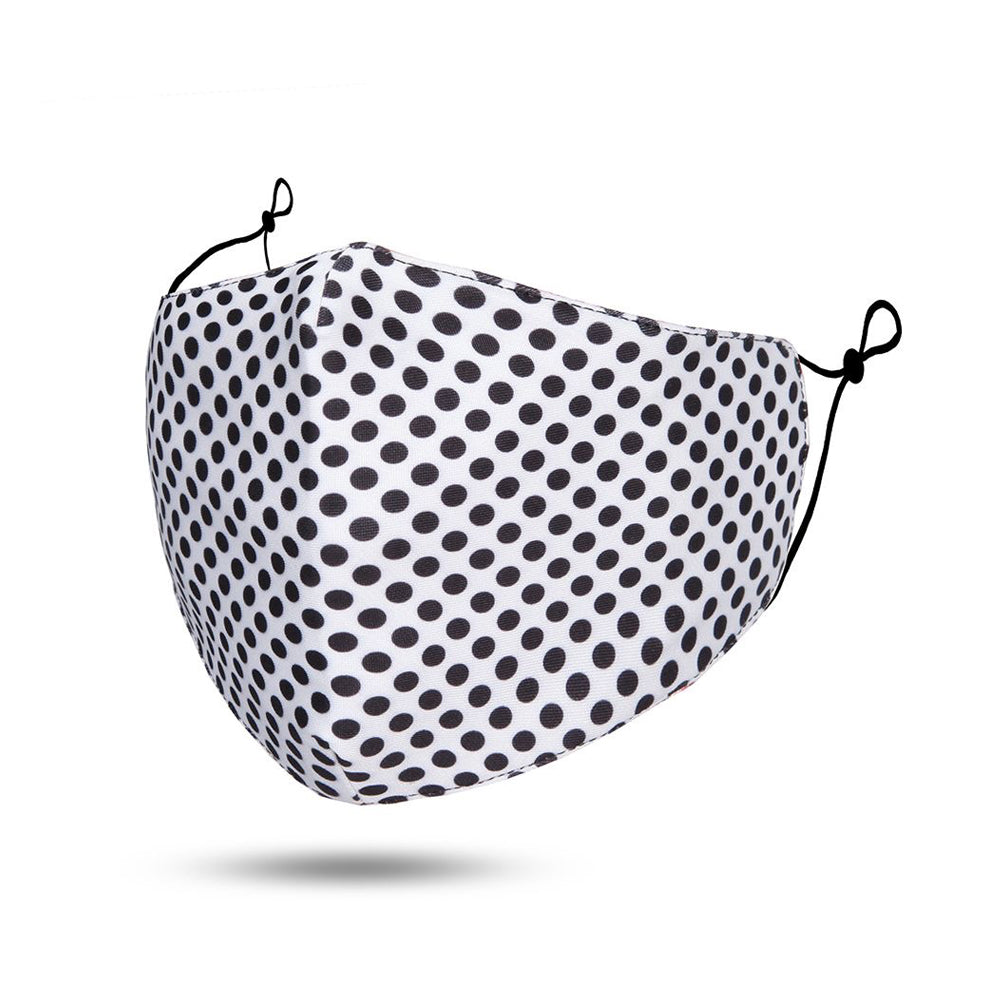 White  /Black Polka Dot Reusable Cotton Face Mask