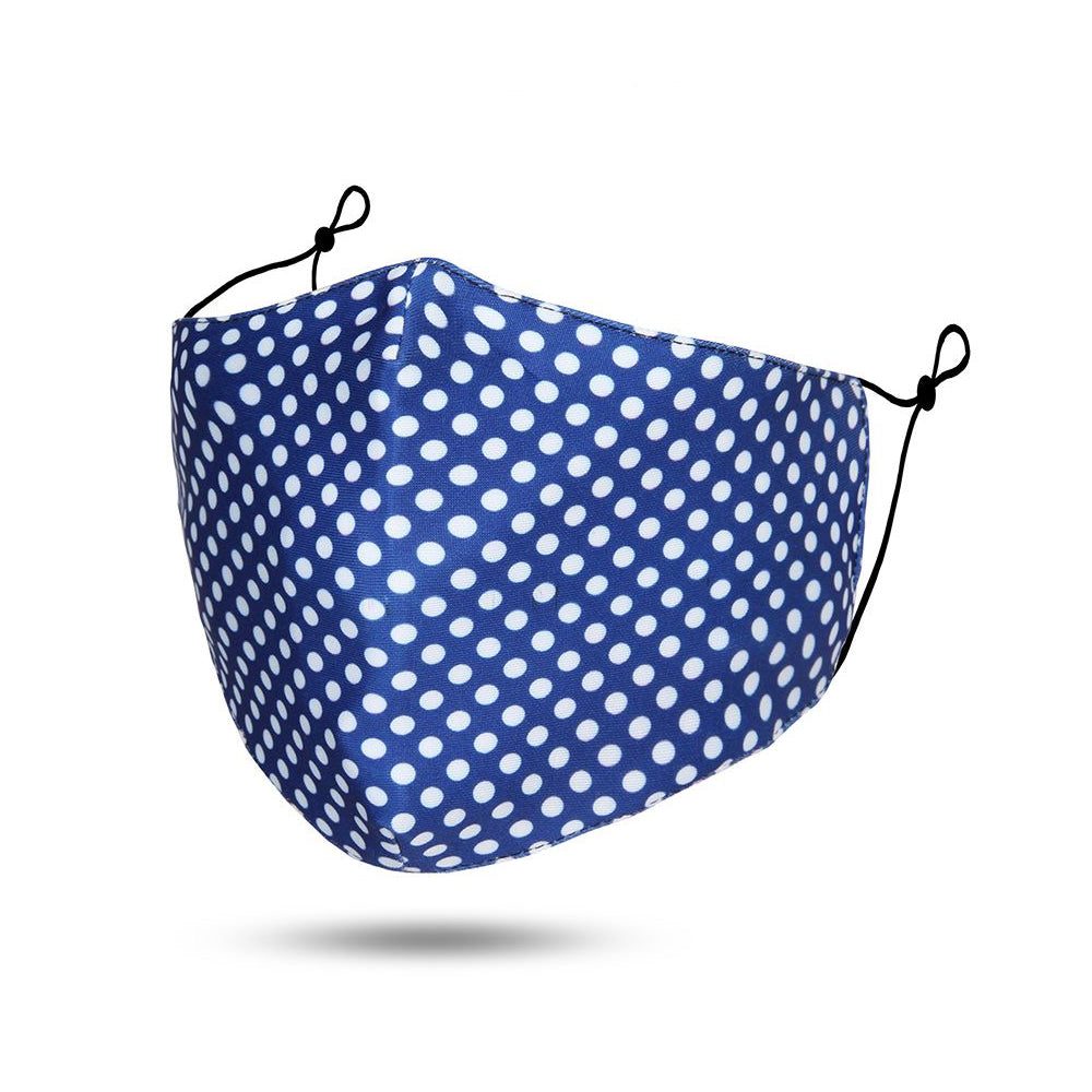 Blue / White Polka Dot Reusable Cotton Face Mask
