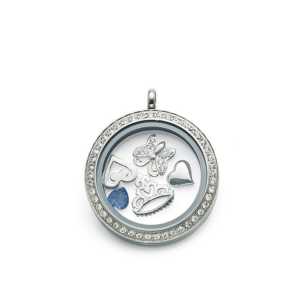 Stainless Steel 30mm Crystal Set Locket with Floating Charms