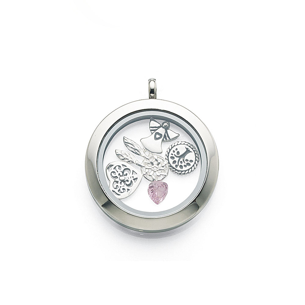 Stainless Steel 30mm Memories Plain Locket with Floating Cha