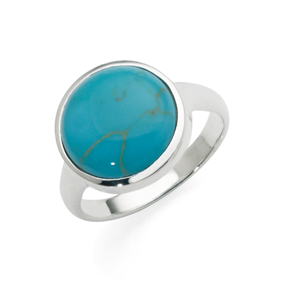 Sterling Silver Domed Turquoise Bezel Set Ring