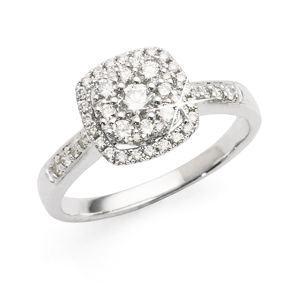 9ct White Gold Pave Set Cluster Diamond Engagement Ring