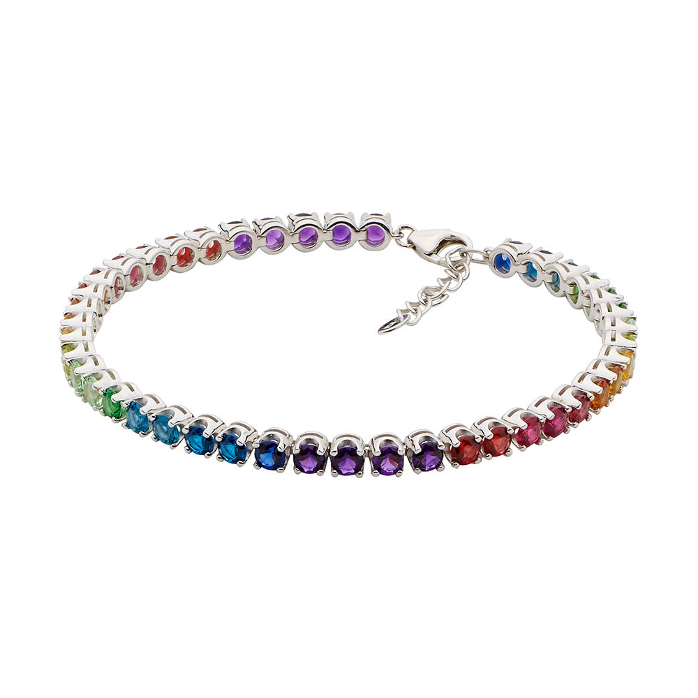 Ellani Sterling Silver Multi-Coloured CZ Tennis Bracelet B22