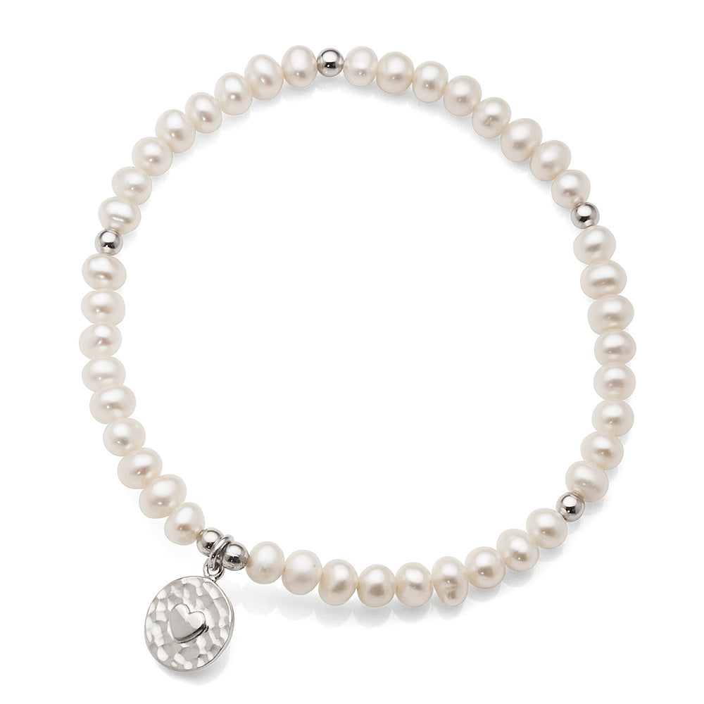 Sterling Silver Freshwater Pearl Stretch Bracelet With Heart
