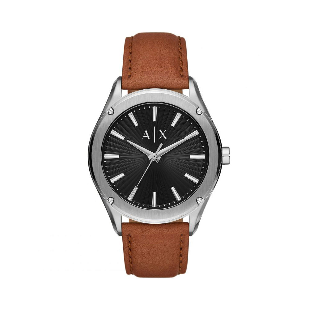 Armani Exchange 'Fitz' Analogue Brown Leather Strap Watch AX