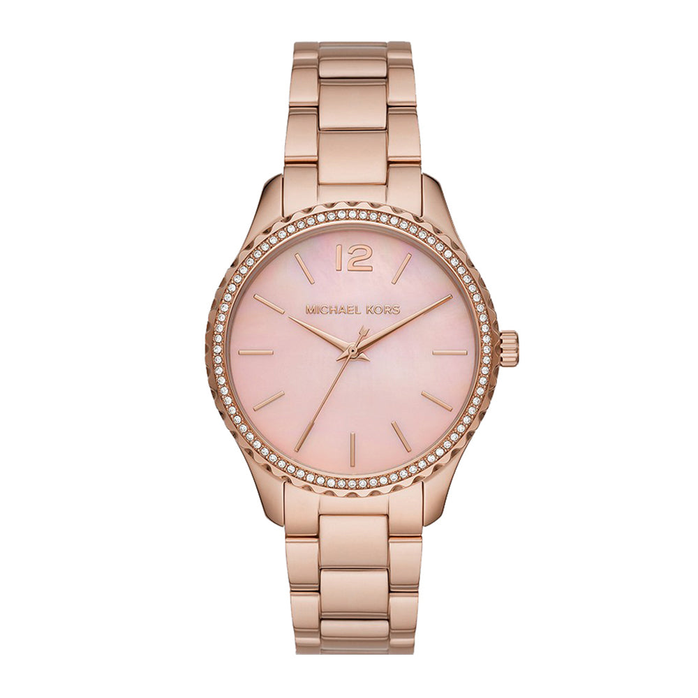 Michael Kors Layton Rose Tone Crystal Set Watch MK6848