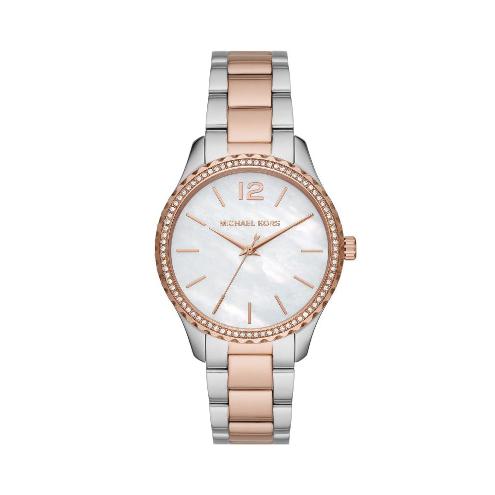 Michael Kors Layton 2-Tone Crystal Set Watch MK6849