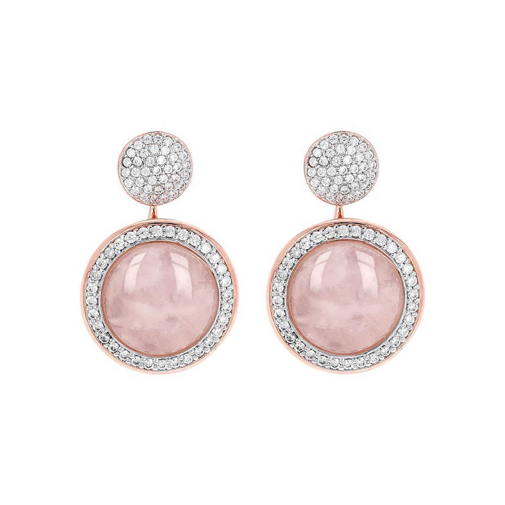 Bronzallure 'Preziosa' Milanese Rose Quartz Stud Earrings WS