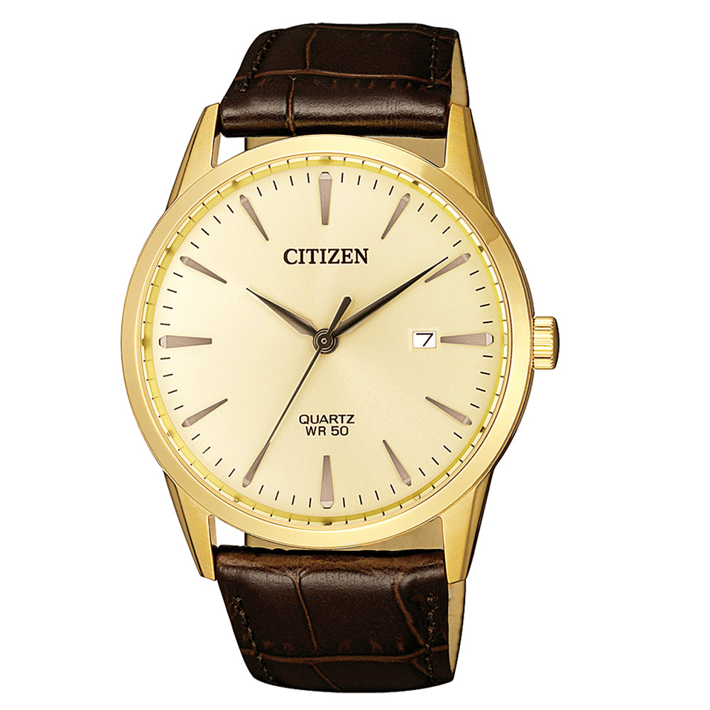 Citizen Gold-Tone Brown Leather Strap Watch BI5002-14A