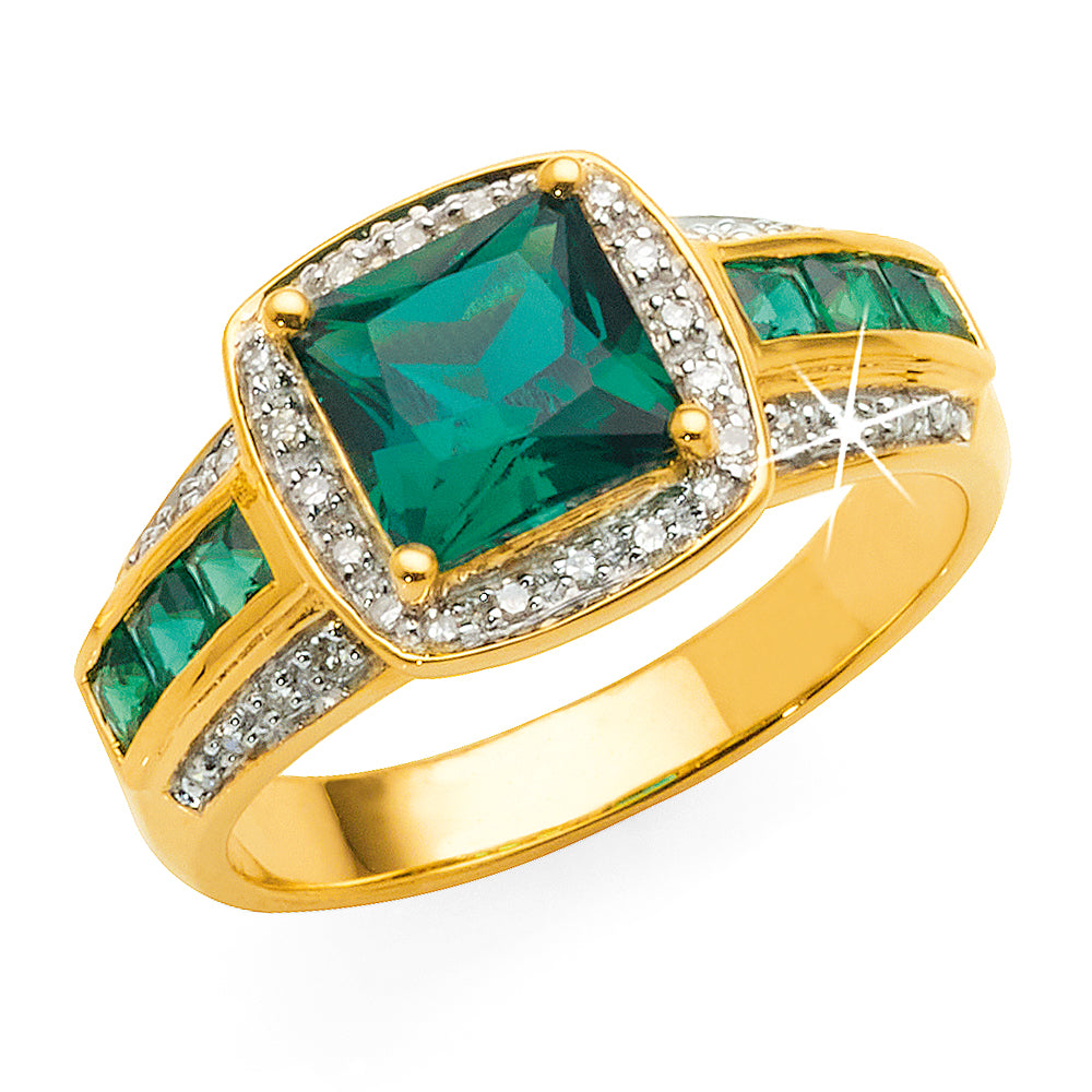 9ct Yellow Gold Princess Cut Created Emerald & Diamond Ring