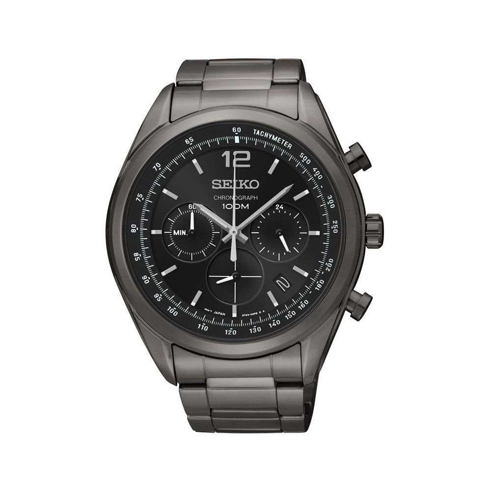 Seiko Black Chronograph Watch SSB093P