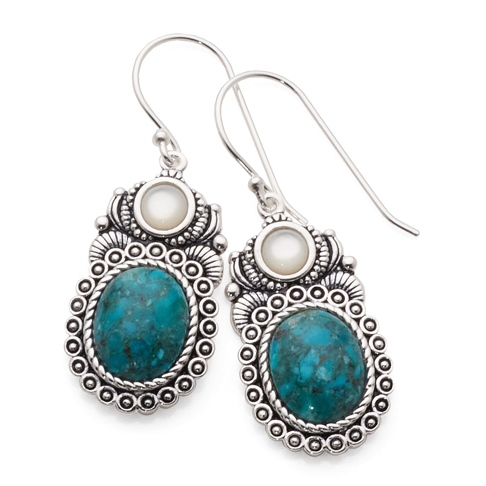 Sterling Silver Oval Turquoise & Mother Of Pearl Hook Earrin