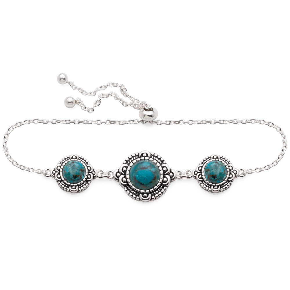 Sterling Silver Created Turquoise 3 Stone Adjustable Bracele