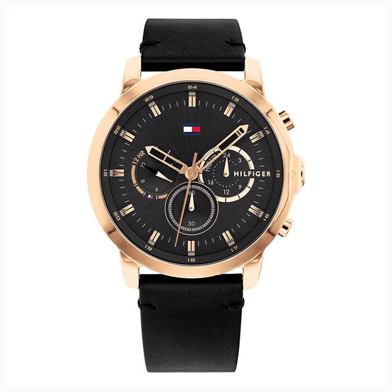 Tommy Hilfiger 'Jameson' Black Leather Multi-function Watch