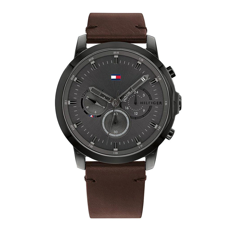 Tommy Hilfiger Dark Brown Leather Multi-function Watch 17917