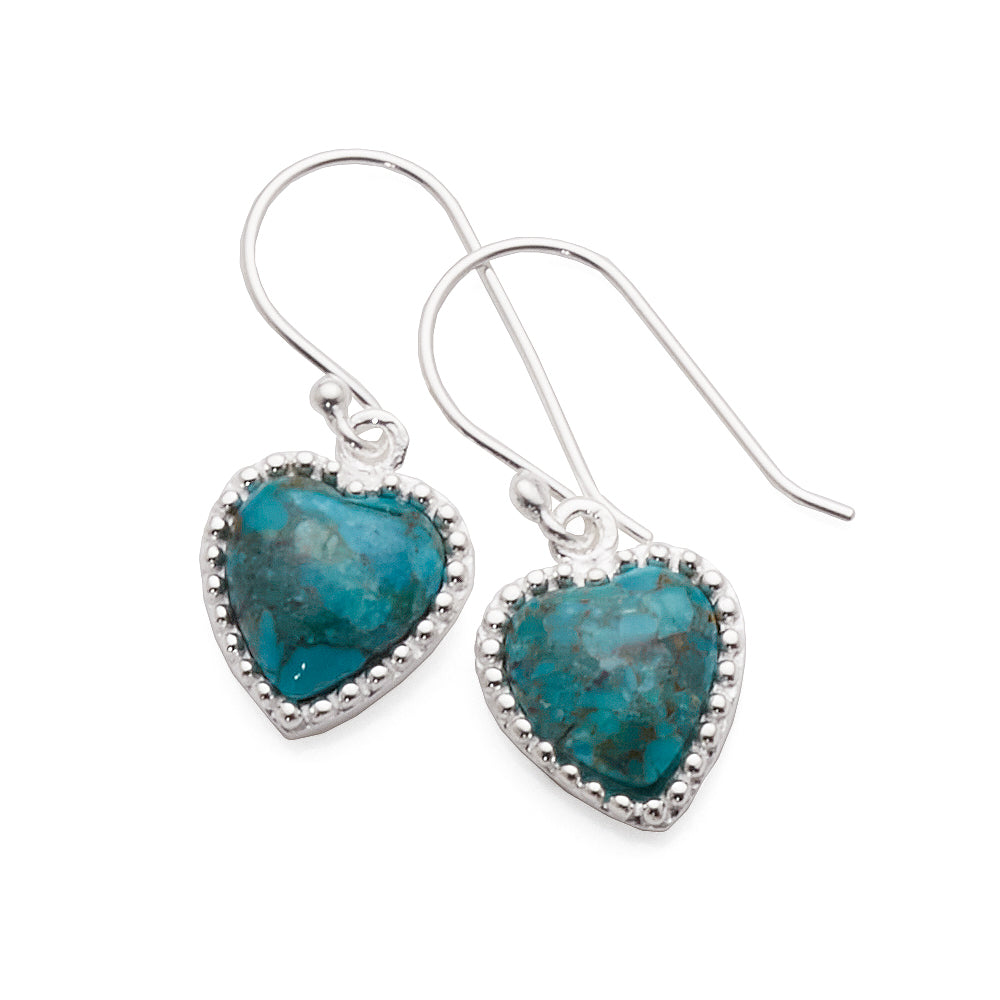Sterling Silver Turquoise Heart Hook Earrings