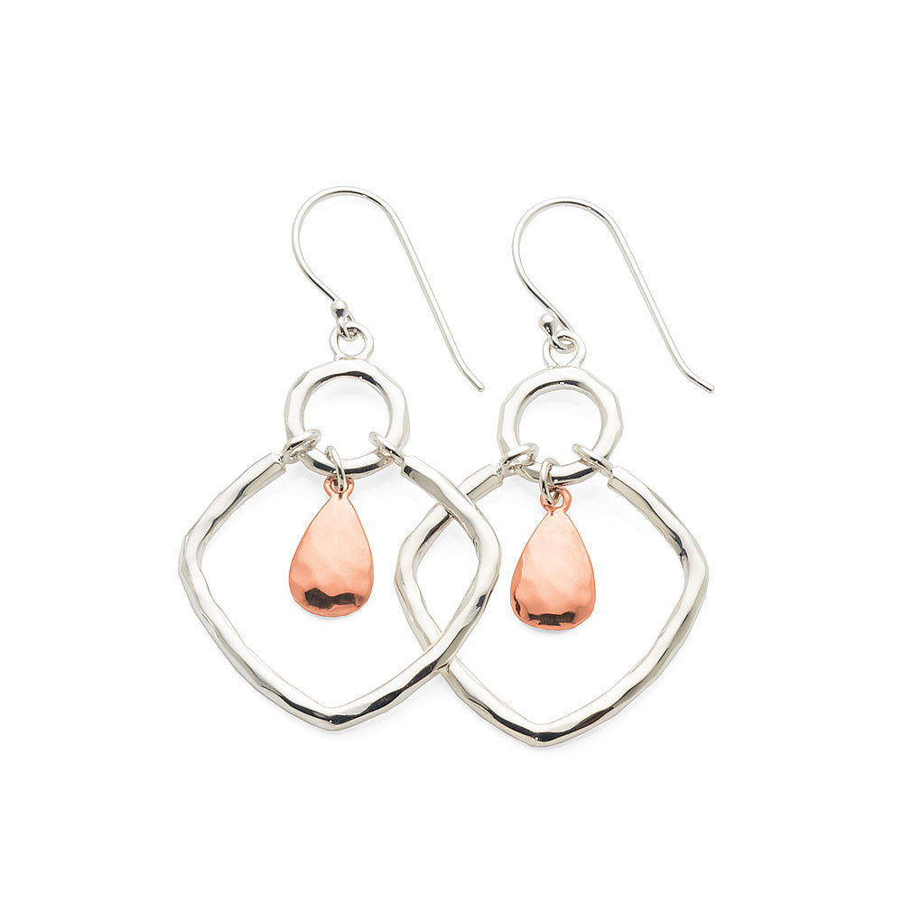 Sterling Silver & Rose Tone Drop Hook Earrings