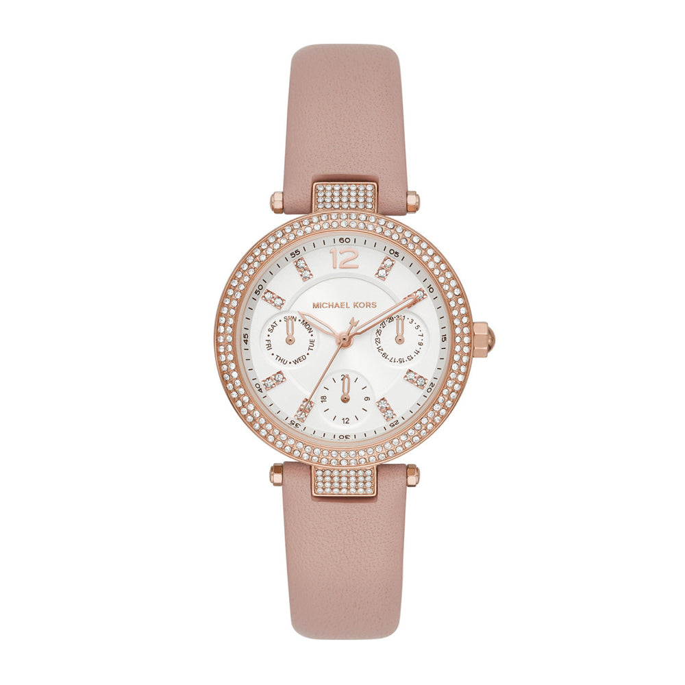 Michael Kors 'Parker' Pink Leather Multi-Function Crystal Wa