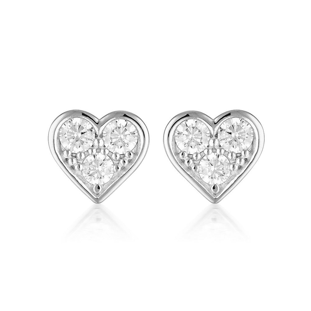 Georgini 'Cupid' Sterling Silver Cubic Zirconia Heart Studs