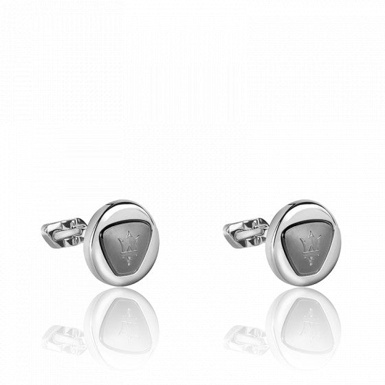 Maserati Stainless Steel Rounded Twin Cuff Links JM417AKS01