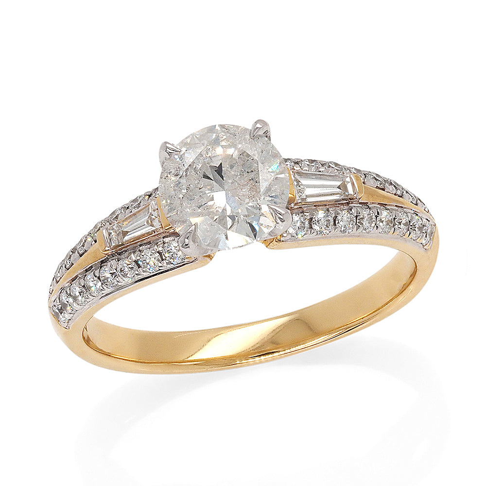 18ct Yellow Gold Brilliant Cut 4-Claw Set Diamond Engagement