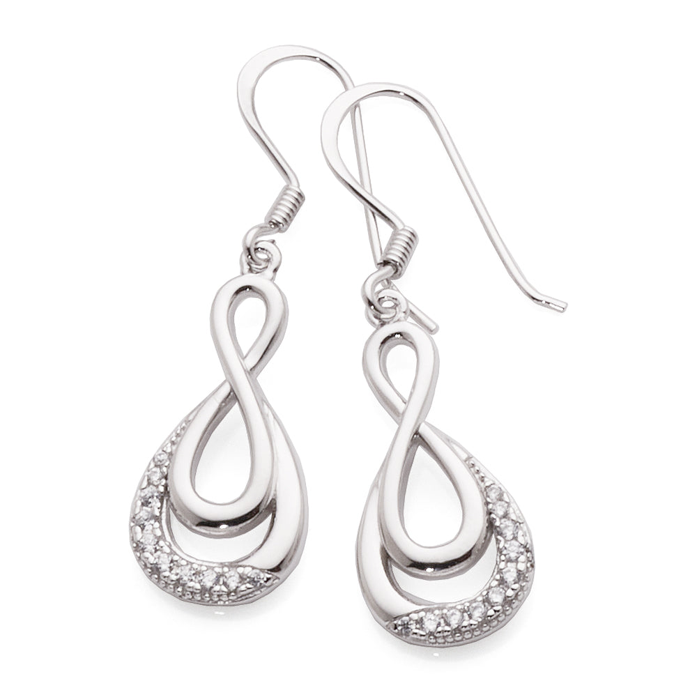Sterling Silver cubic zirconia infinity hook earrings