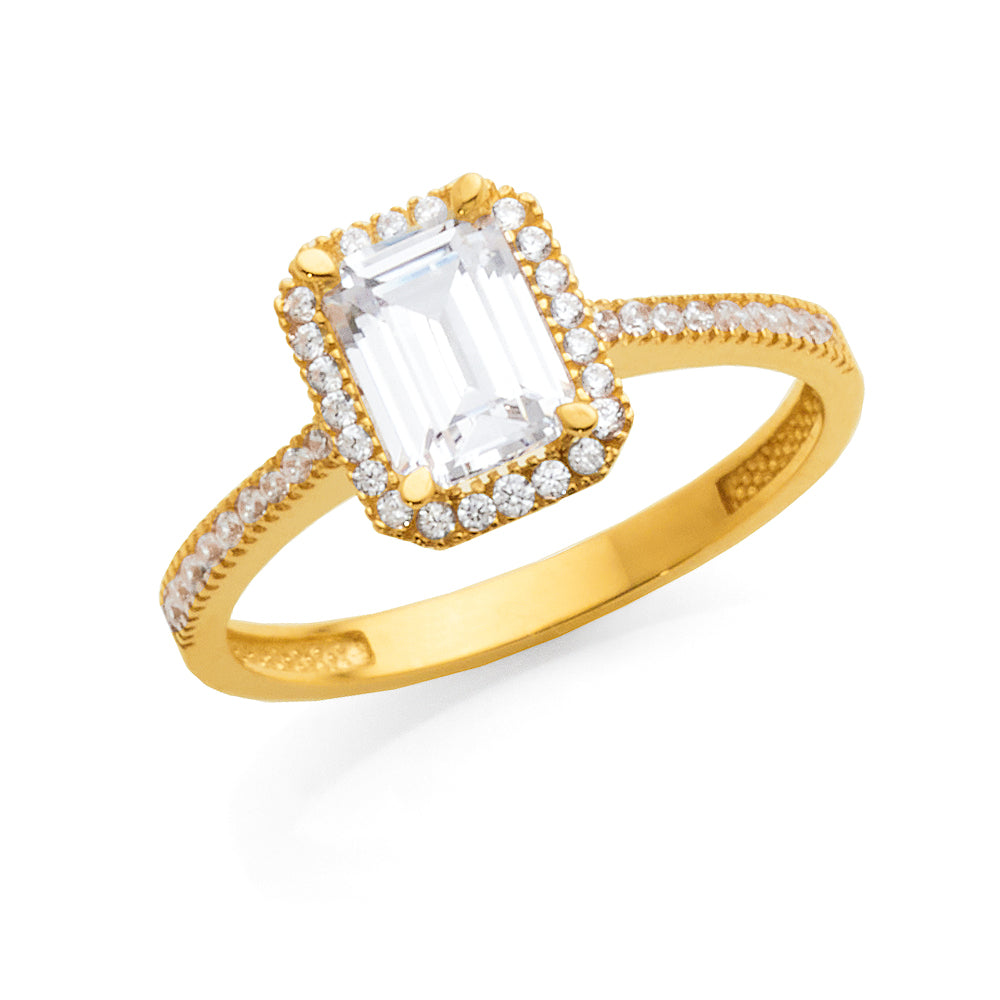 9ct Yellow Gold Emerald Cut Cubic Zirconia Halo Ring