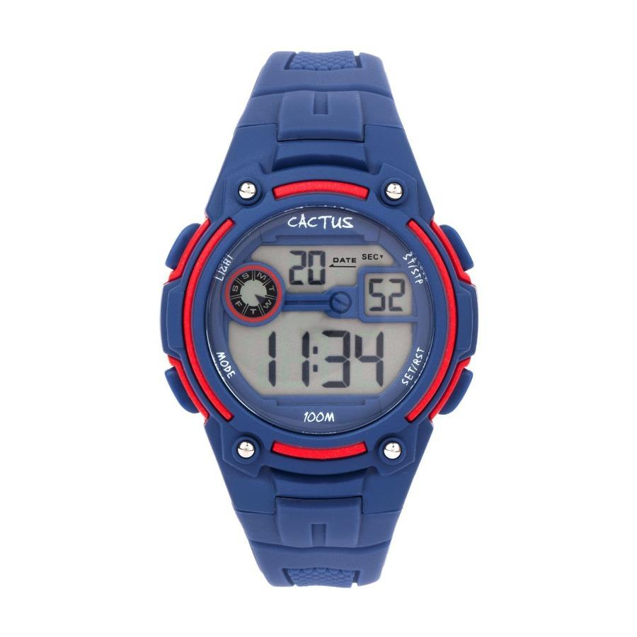 Cactus 'Rambler' Navy Blue & Red Digital LCD Watch CAC-115-M