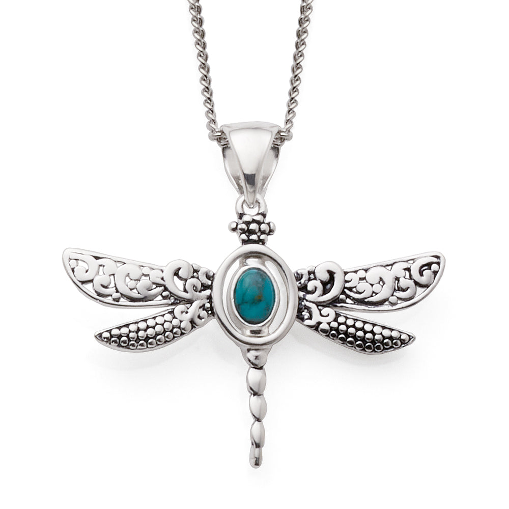 Sterling Silver Dragonfly Reversible Oval Turquoise/Paua She