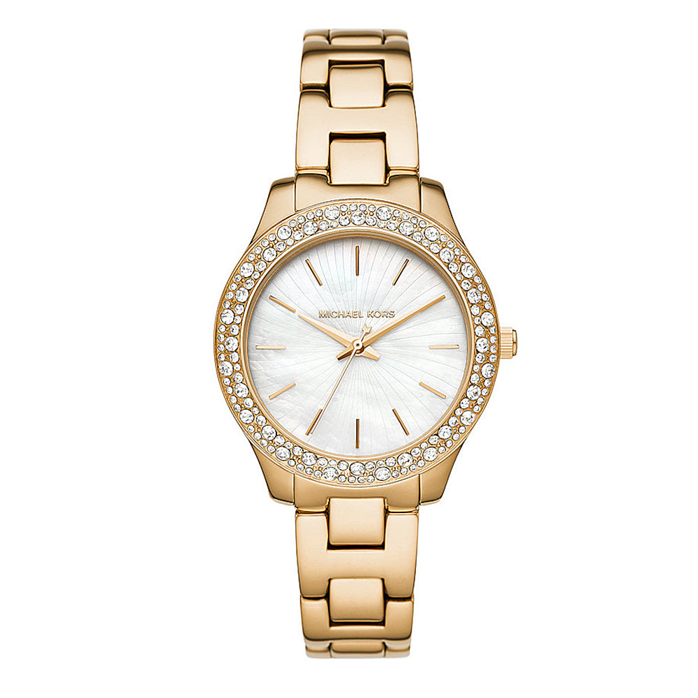 Michael Kors 'Liliane' Gold Tone Crystal Set Watch MK4555