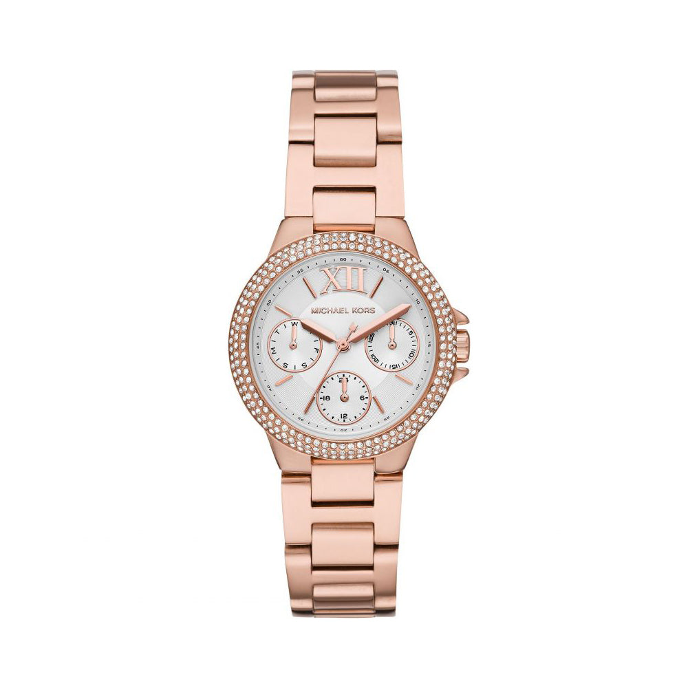 Michael Kors 'Camille' Chronograph Rose Tone Crystal Set Wat