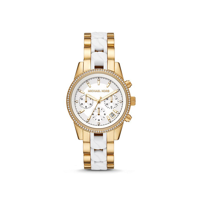 Michael Kors Gold Tone & White Chronograph Crystal Set Watch