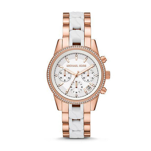 Michael Kors 'Ritz' Chronograph White & Rose Tone Crystal Wa
