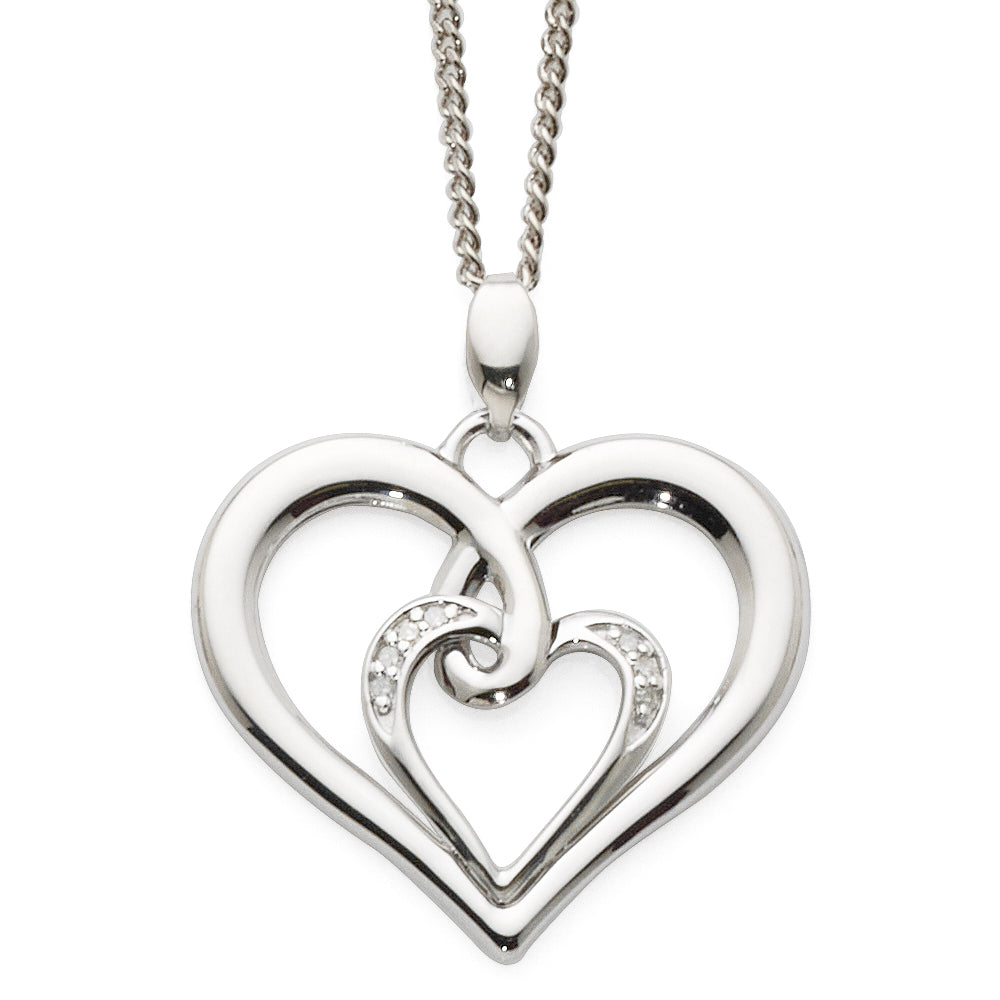 9ct White Gold Double Open Heart Diamond Pendant