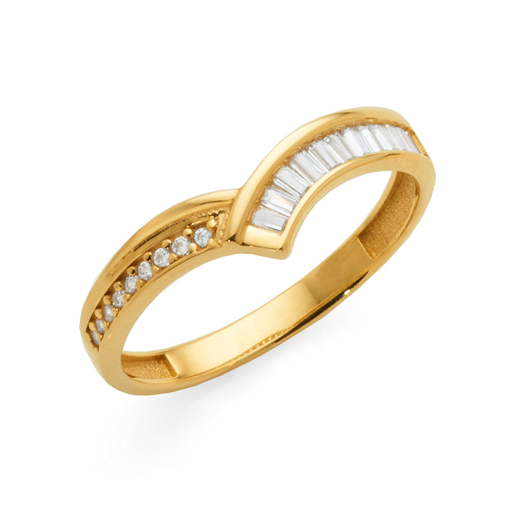 9ct Yellow Gold Cubic Zirconia 'V' Shaped Band